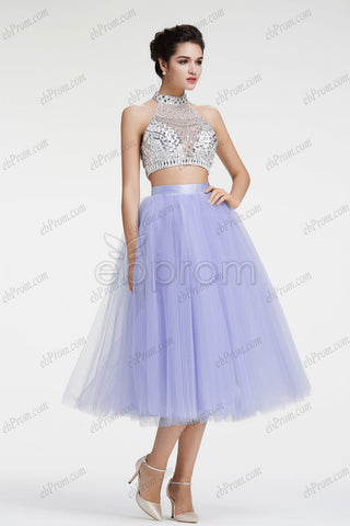 Halter sparkle crystal lavender two piece homecoming dresses