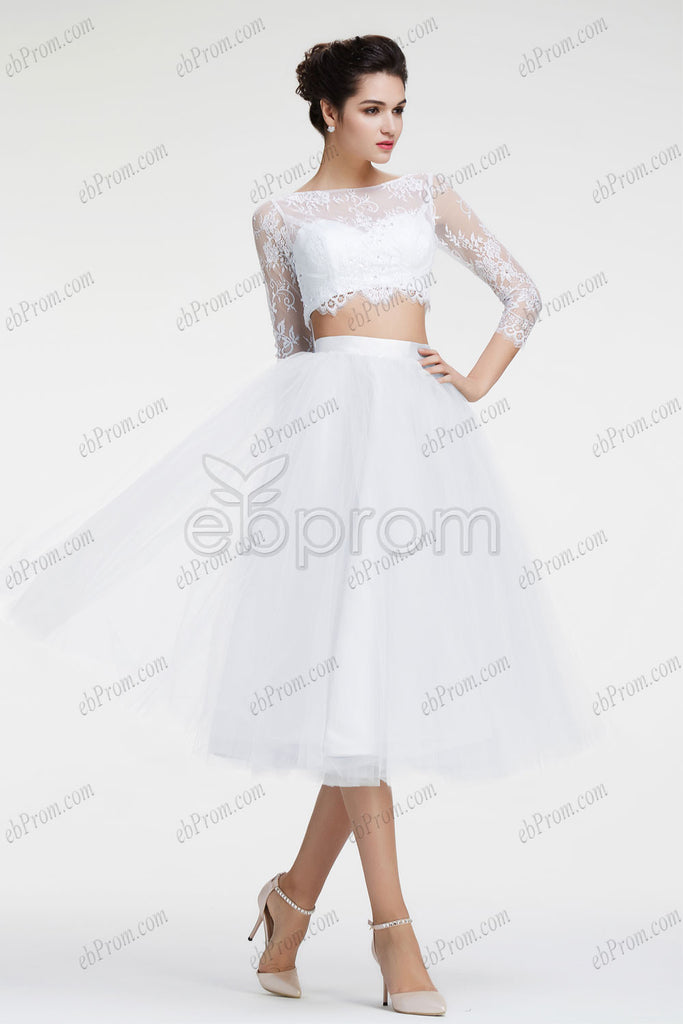 White two piece prom dresses long sleeves homecoming dresses