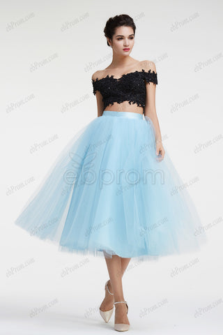 Off the shoulder light blue two piece prom dress homecoming dresses