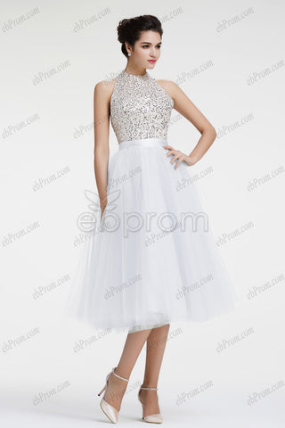 Sparkle crystal beaded halter backless white short prom dress homecoming dress