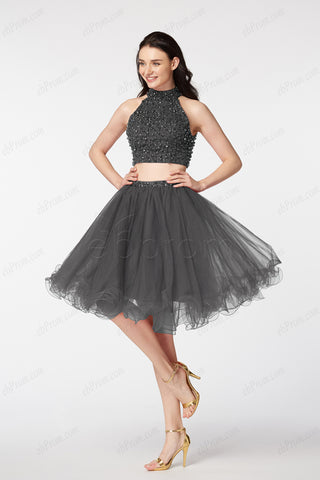 Charcoal two piece beaded homecoming dresses short