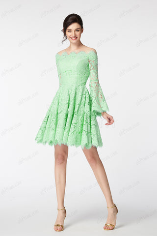 Light green boho short prom dresses long sleeves