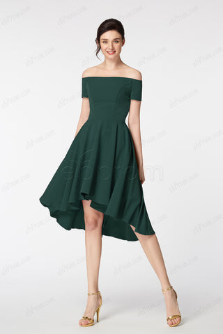 67db1ce3b66 Hunter green high low bridesmaid dresses