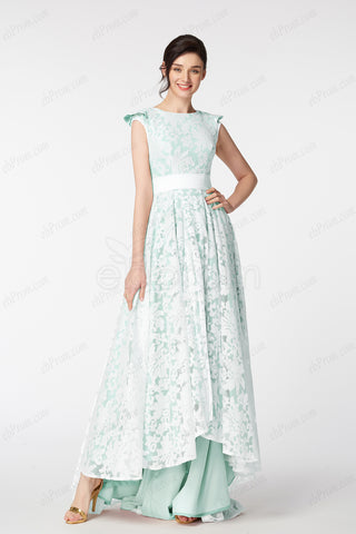 1124ee506e4 Mint green modest evening dresses front short back long