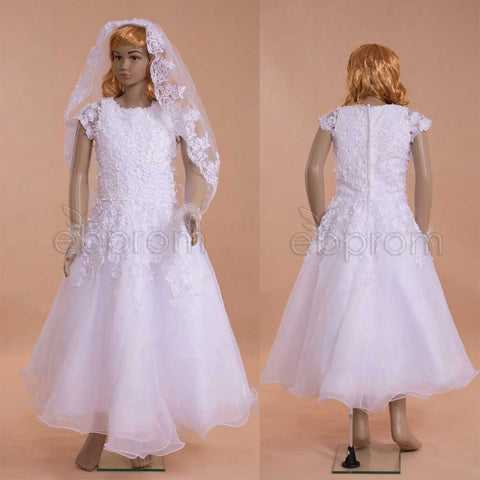 White Flowers First Holy Communion dresses tea length