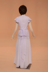 Chiffon A Line modest first communion dress with sleeves floor length