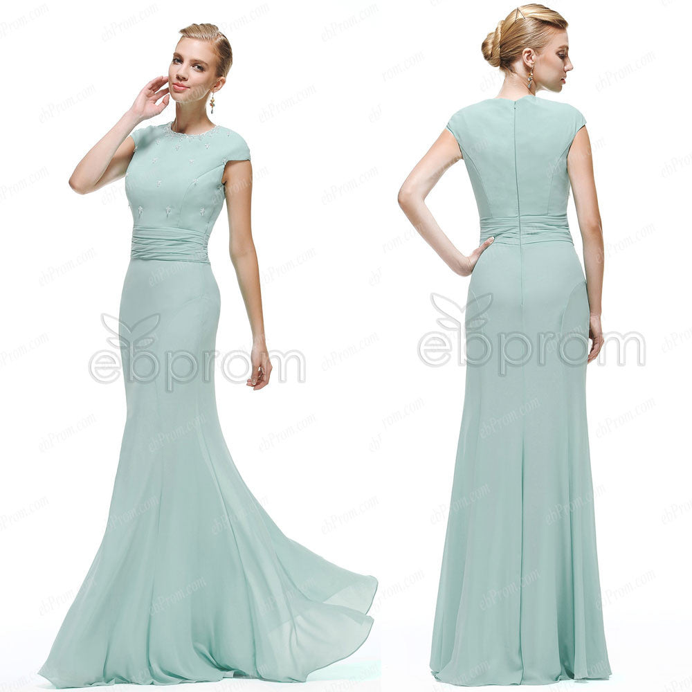 e7a86e235e0 Modest Duck egg color bridesmaid dresses with clear crystals – ebProm