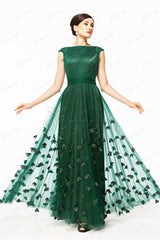 Floral Forest green modest prom dresses with capped sleeves