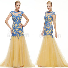 Mermaid Gold Blue Modest long prom dresses cap sleeves