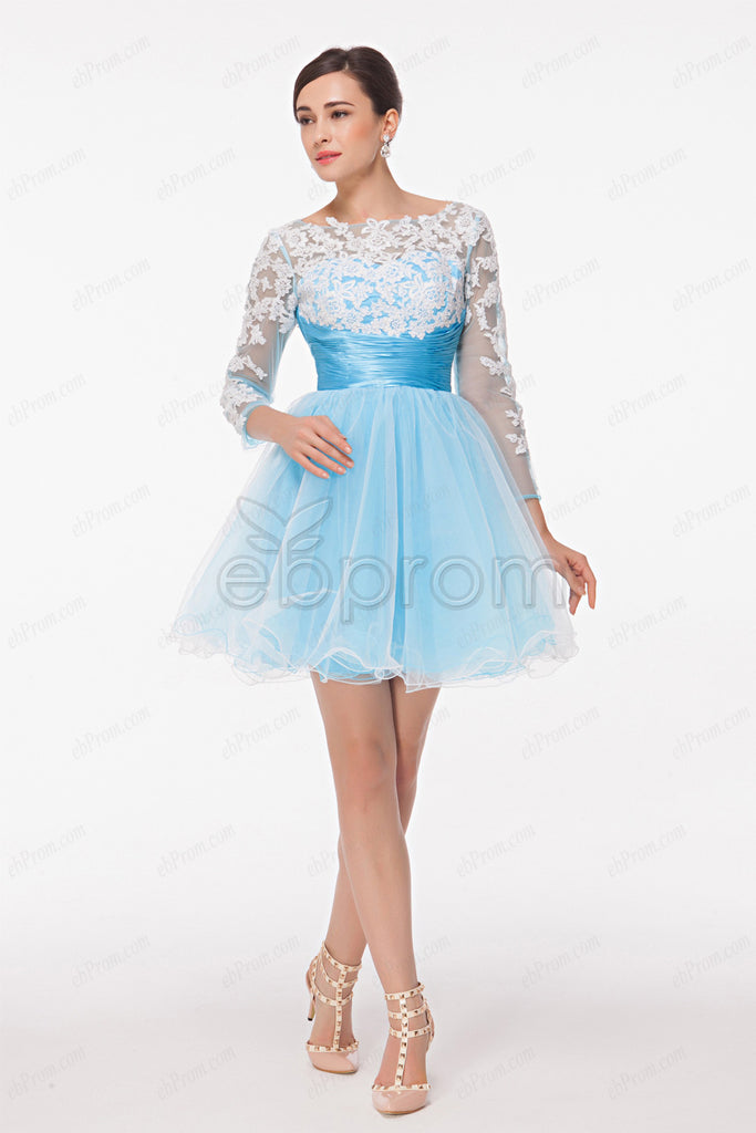 White lace light blue short prom dress long sleeves homecoming dresses