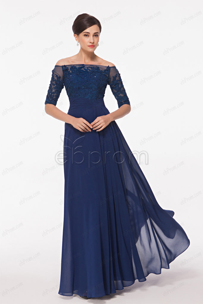 Beaded lace navy blue prom dresses with sleeves evening dress plus ...
