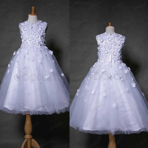 Flowers ball gown first communion dress tea length