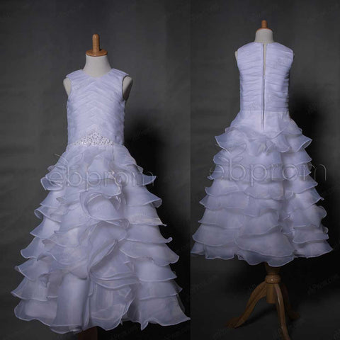 White Organza Tiered First Communion Dress Tea Length
