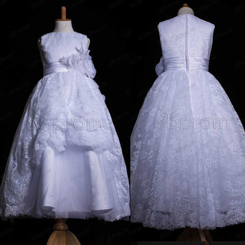 Lace Ball Gown First Communion Dresses Ankle Length