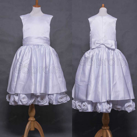 White Satin Girl's First Communion Dress with Flowers