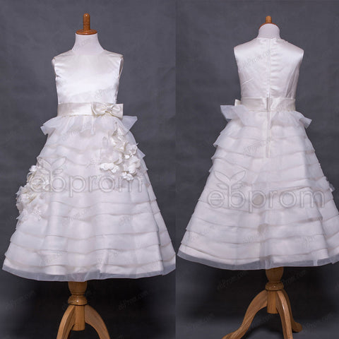 Tiered First Communion Dresses with Flowers tea length
