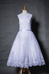 Lace white girl's first communion dresses tea length