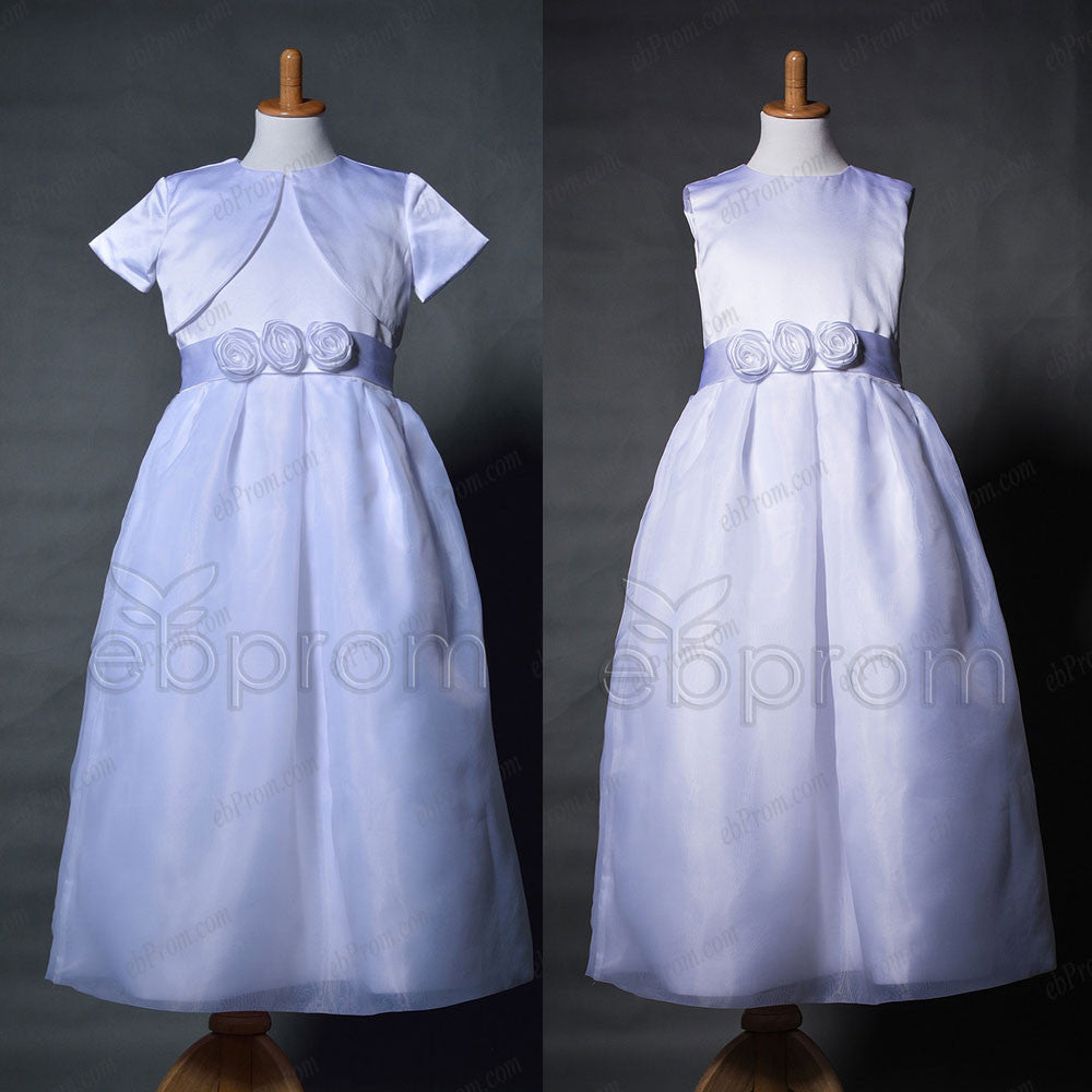 Tea length girl's first communion dress with jacket