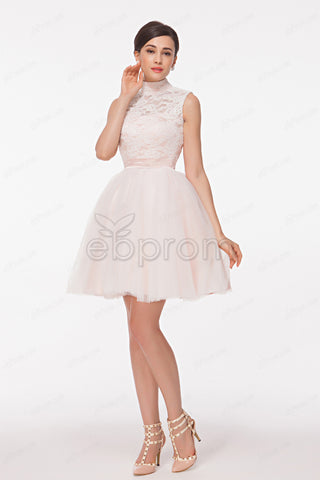 High neck white lace short prom dresses homecoming dresses
