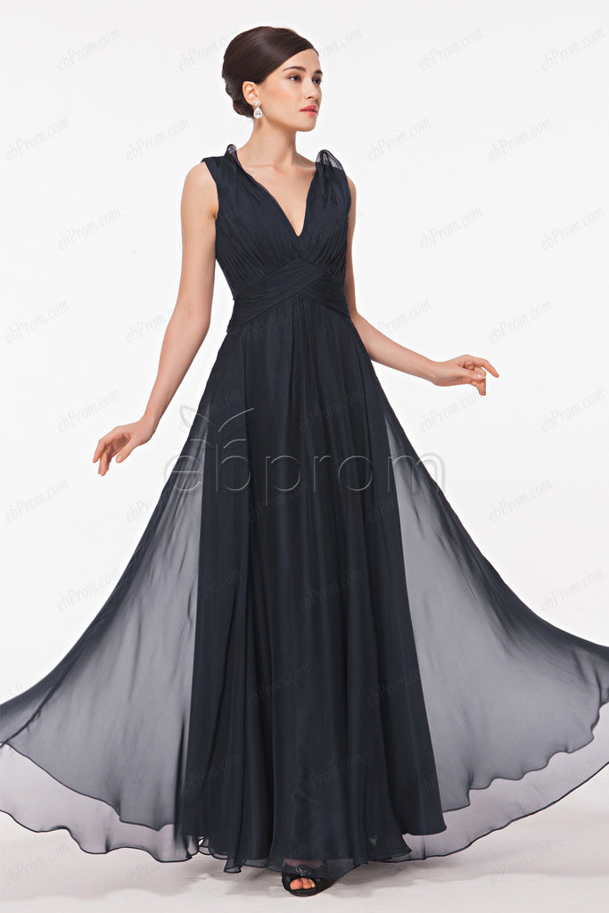 Navy blue V Neck Evening Dresses see through back