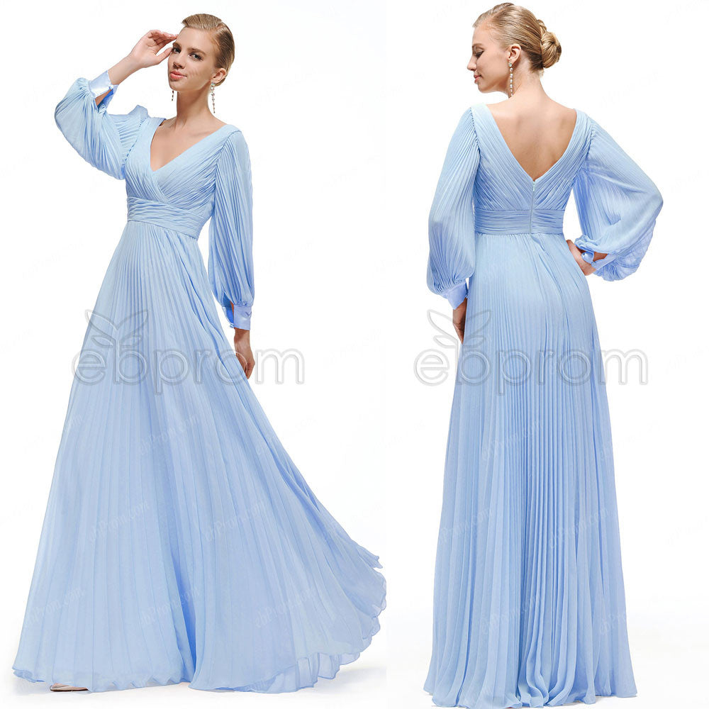 Modest Blue Prom Dresses Long Sleeves – ebProm