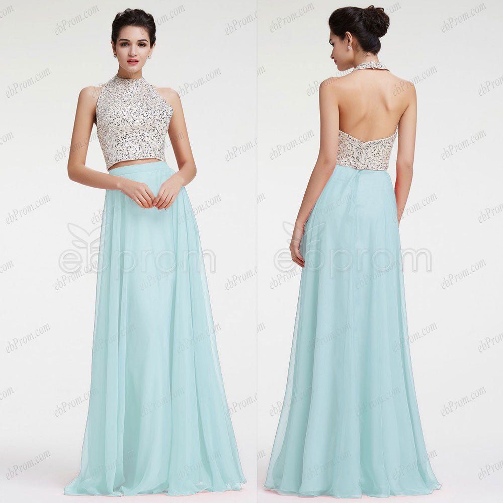 Sparkle beaded halter mint 2 piece prom dresses – ebProm