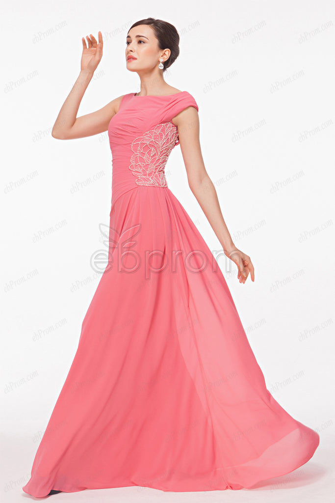 Pink modest beaded prom dress long