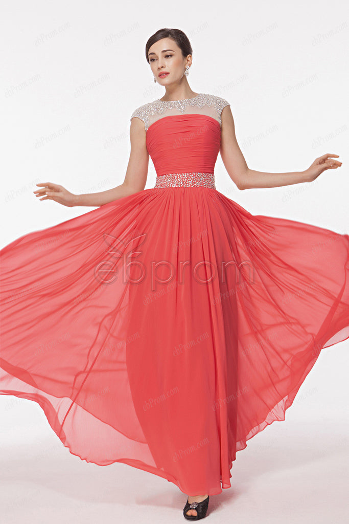 Coral Sparkly crystal prom dresses cap sleeves
