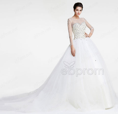Pearl Crystal Princess wedding dresses long sleeves