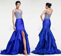 Mermaid royal blue beaded crystal sparkle prom dress with slit