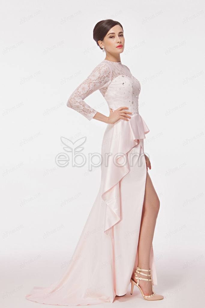 Pink long sleeves evening dresses with slit