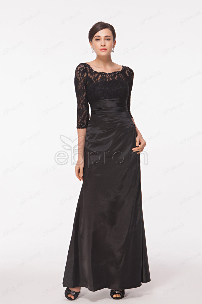 Black mother of the bride dress with sleeves plus size
