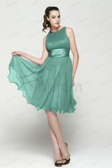 modest Dusty green bridesmaid dresses under the knee length
