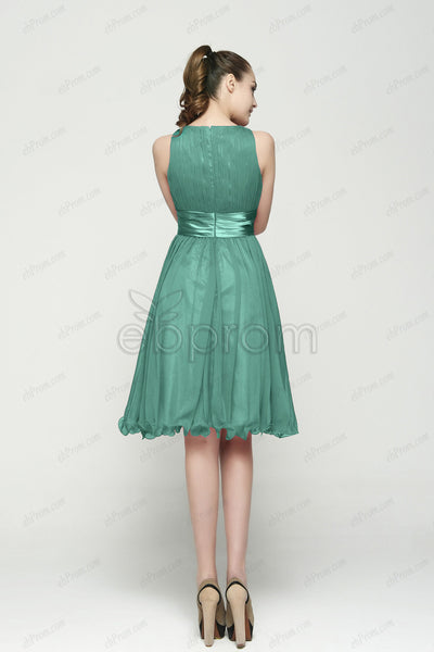 dbd1518a924 modest Dusty green bridesmaid dresses under the knee length – ebProm