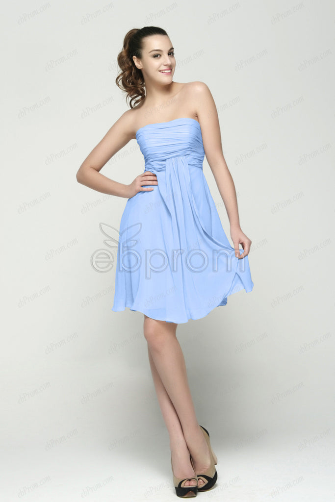 Light blue maternity bridesmaid dress short