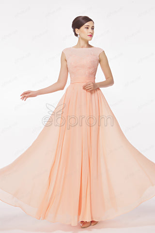 cap sleeves Peach prom dresses bridesmaid dresses