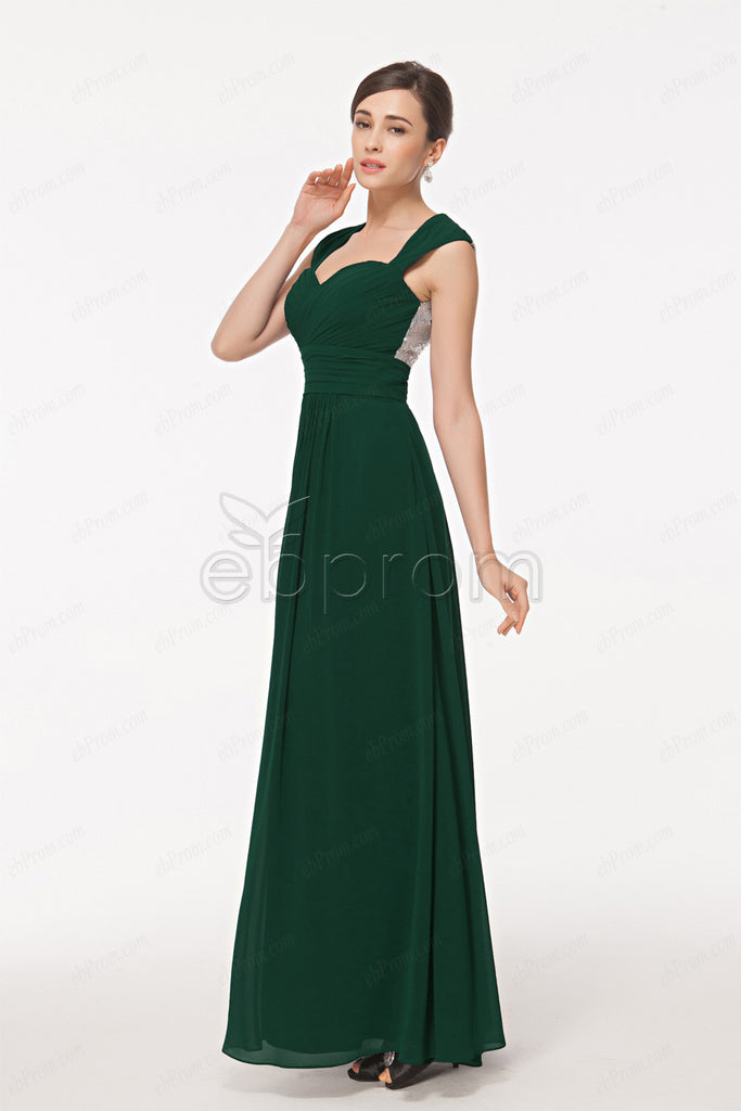 Forest Green Backless Prom Dresses With Sparkly Sequin Ebprom