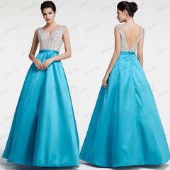 Sparkly Crystals Aqua Blue Prom Dresses Pageant dresses