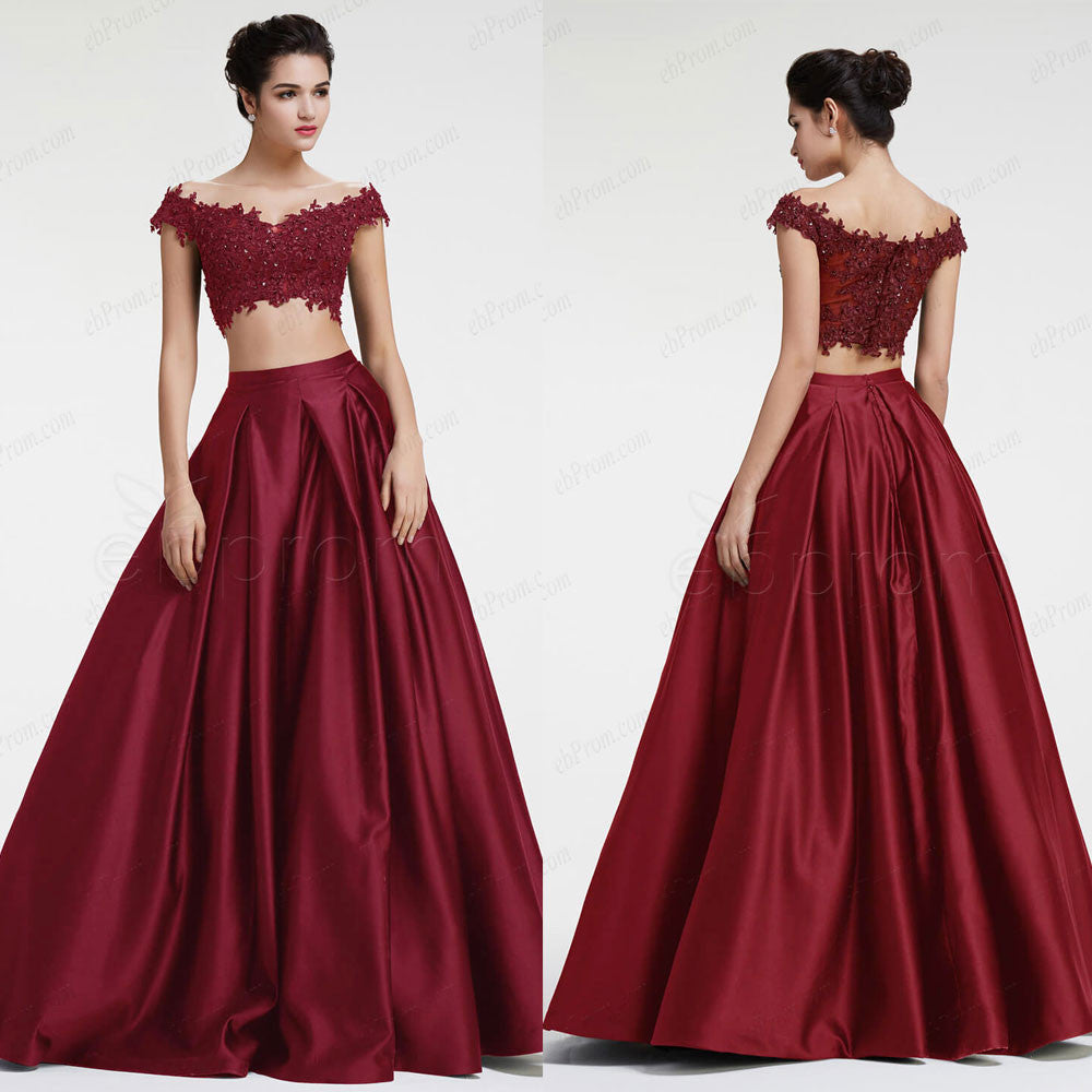 Burgundy off the shoulder Ball gown two piece prom dresses – ebProm