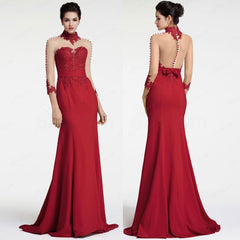 Burgundy backless mermaid prom dresses long sleeves