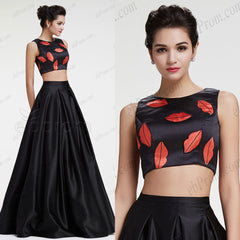 Two piece black ball gown prom dresses