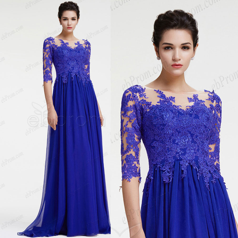 Royal blue long sleeve evening dress with slit plus size formal ...