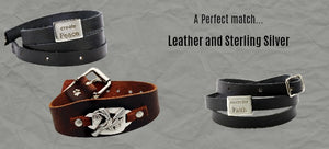 Leather and Sterling Silver Cuffs