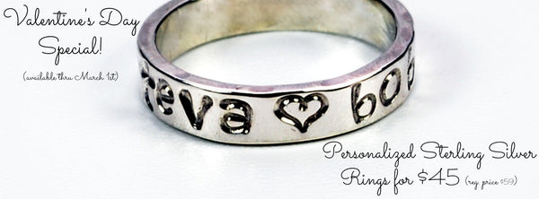 Personalized Sterling Silver Ring for $45! Now thru March 1st.
