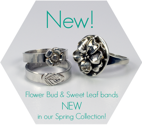 Flower Bud Stackable Ring - Sweet Leaf Band - Bloomering - TevaJane Jewelry