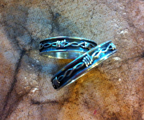 Custom wedding bands barb wire fence