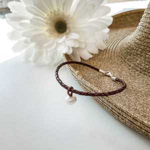 Brown Leather Anklet