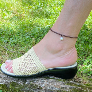 Leather Anklet with Freshwater Pearl