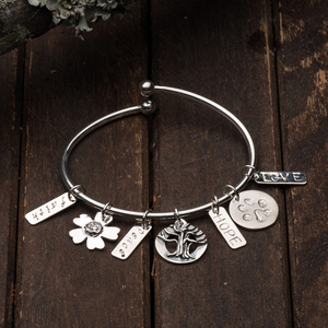STERLING SILVER CHARMS BANGLE BRACELET - TevaJane
