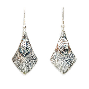 Leaf Imprint earrings by TevaJane